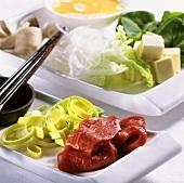 Ingredients for sukiyaki (Japan)