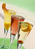 Bellini, Kir Royal and Champagne cocktail