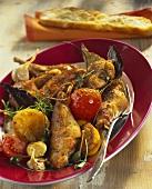 Coniglio alla sarda (Rabbit with rosemary and vegetables)
