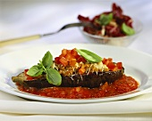 Aubergines stuffed with mince and tomatoes