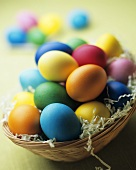 Coloured Easter eggs in an Easter nest
