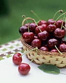 Cherries in a small basket