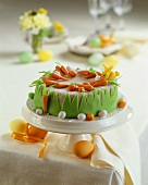 Easter cake with marzipan decorations