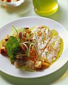 Shrimp carpaccio with bread salad