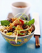 Asian noodle salad with crab kebabs