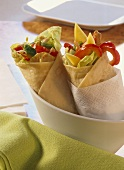 Two wraps with different fillings