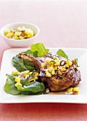 Veal cutlet with peach salsa