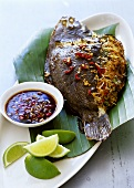 Flounder stuffed with Asian noodles, with chili sauce