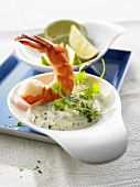 Shrimp with herb sauce
