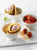 Crepes with strawberry quark and fresh strawberries
