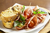 Antipasto rustico (Toasted bread with ham & vegetables, Italy)