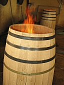 Toasting barrels (exposing to a flame) France