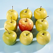 Nine Golden Delicious apples