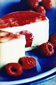 Cream cake with raspberry cream filling