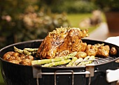 Grilled lemon chicken with asparagus and potatoes