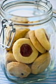 Cookies & Husarenkrapfen (German cookies) in a preserving jar