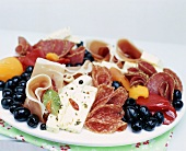 Antipasto with sausage, cheese and olives