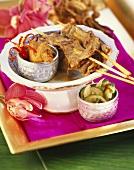 Beef saté with peanut paste (Thailand)