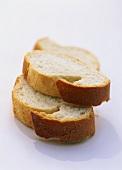 Three slices of white bread