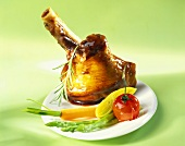 Braised lamb shank with young vegetables