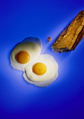 Two fried eggs and baguette on blue background