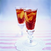 Jelly with berries and fruit in glasses