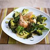 Poached rabbit on broccoli and chard
