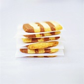 Two-colour biscuits, in a pile