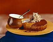 Chestnut pudding with custard