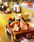 Sushi platter on table in restaurant
