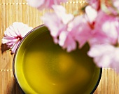 Bowl of green tea beneath cherry blossom