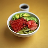 Marinated tuna on wasabi noodles with preserved ginger