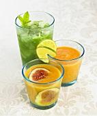 Feigen-Orangen-Saft, Aprikosen-Möhren-Saft, Spinat-Minze-Saft