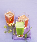 Grape and strawberry juice and fennel and cucumber juice