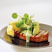 Smoked pickled loin of pork with avocado, cress and lemon