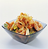 Shrimp salad with spring onions