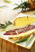 Carpaccio of duck breast with pineapple