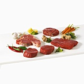 A selection of beef steaks