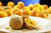 Apricot dumplings with cinnamon sugar