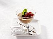 Redcurrant cream in dessert glass