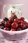 Fresh cherries in plastic basket