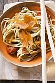 Spaghetti con la bottarga (Pasta with fish roe & grissini)