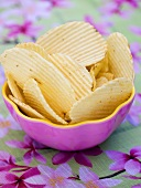 Crisps in purple bowl