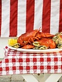 Lobster and clams on platter (USA)