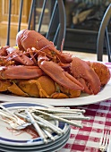 Cooked lobster on laid table (USA)