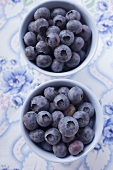 Blueberries in two small bowls