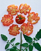 Blume aus Tomate, Tomatenscheiben und Tomatenblättern