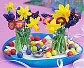 Colourful posies of narcissi and hyacinths for Easter