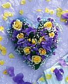 Heart of roses, hydrangea, gypsophila, forget-me-nots
