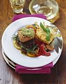 Beef fillet with lemon pesto, vegetables & polenta muffins